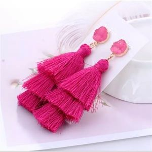 Pink boho tassel earrings